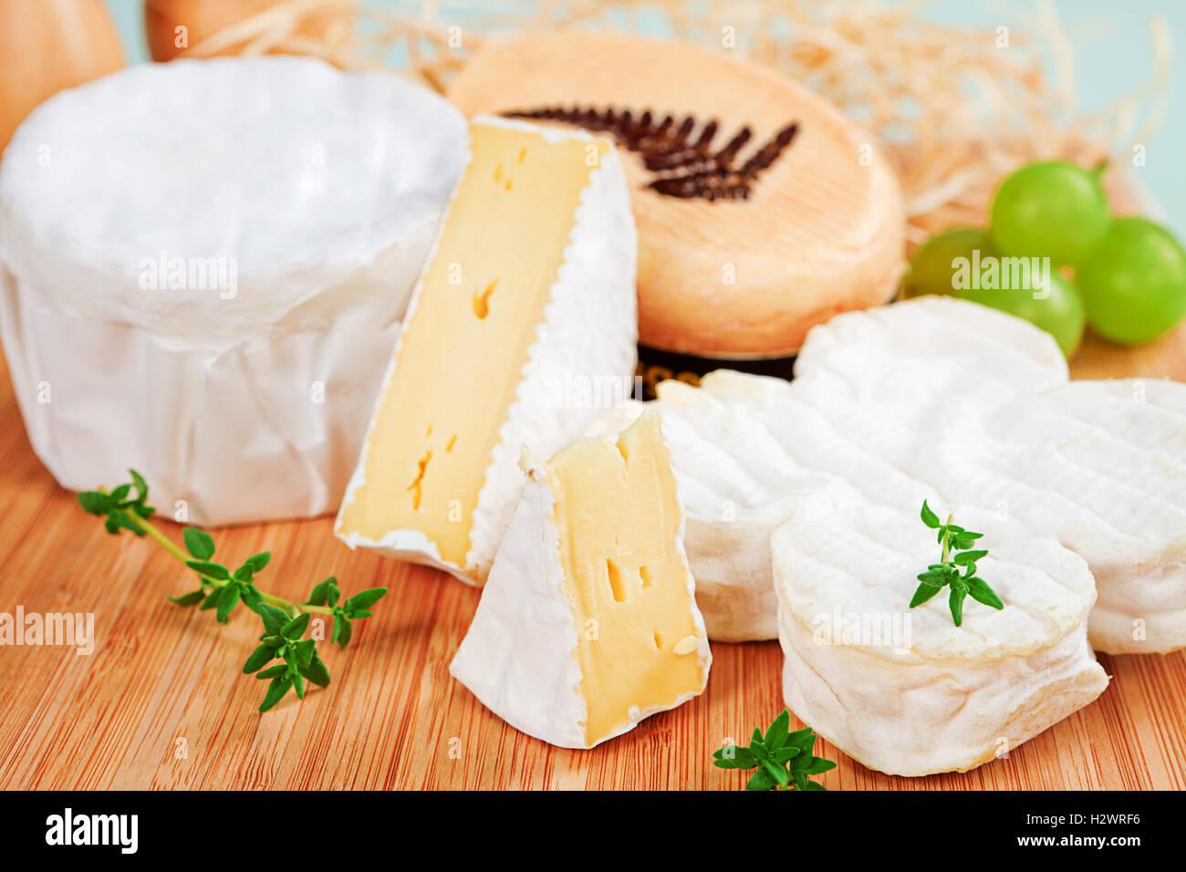 Luxurious cheese still life. - Stock Image