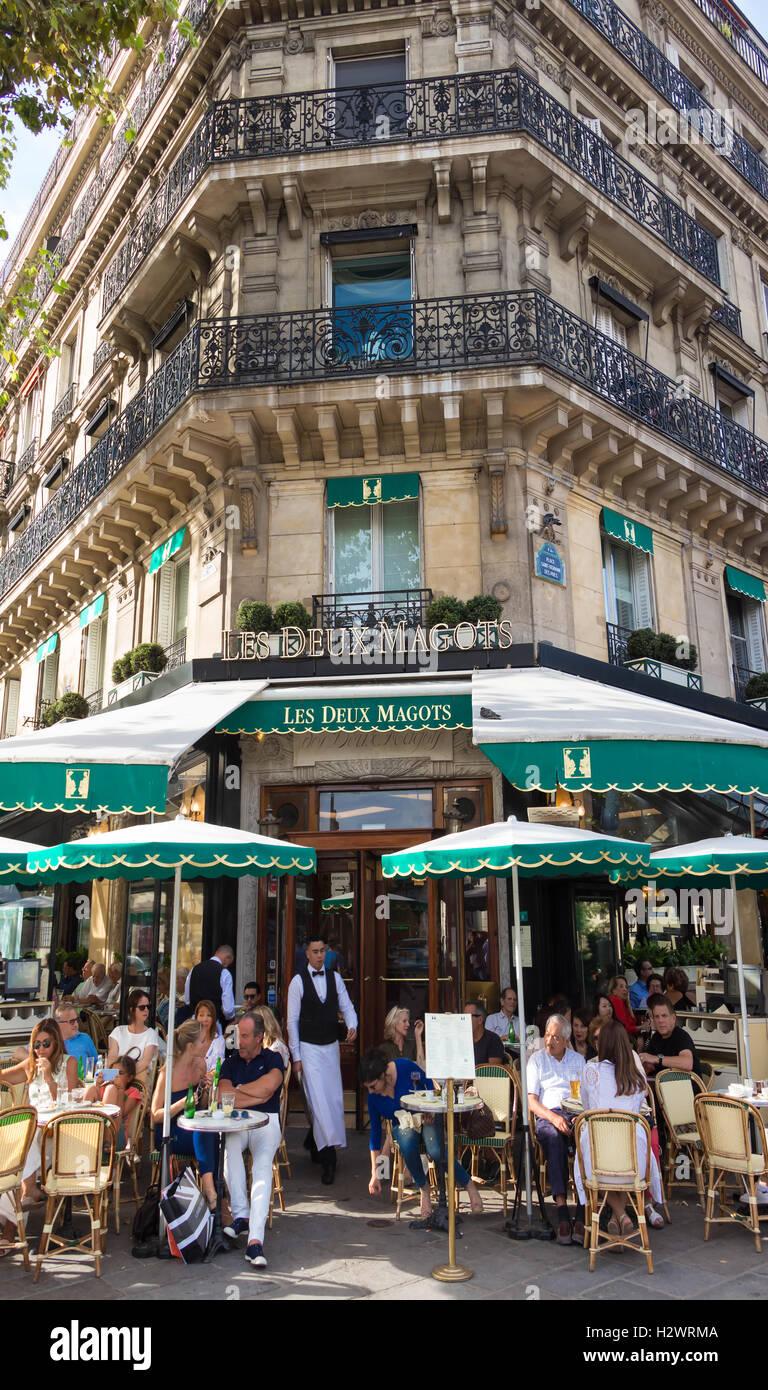 Paris, France-September 10, 2016 : The famous cafe Les Deux Magots located in Parisian Saint Germain des Pres district. Stock Photo