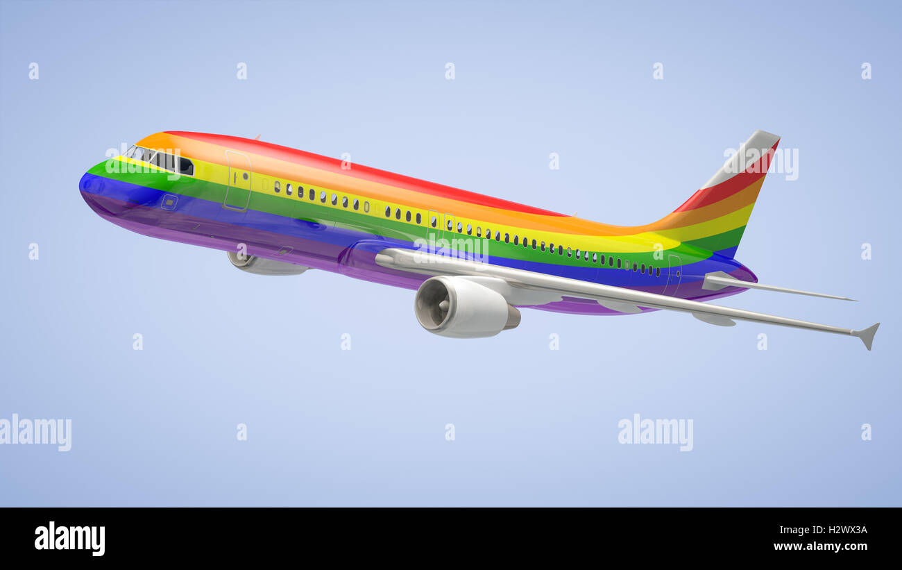 Airplane Rainbow Colours - Stock Image