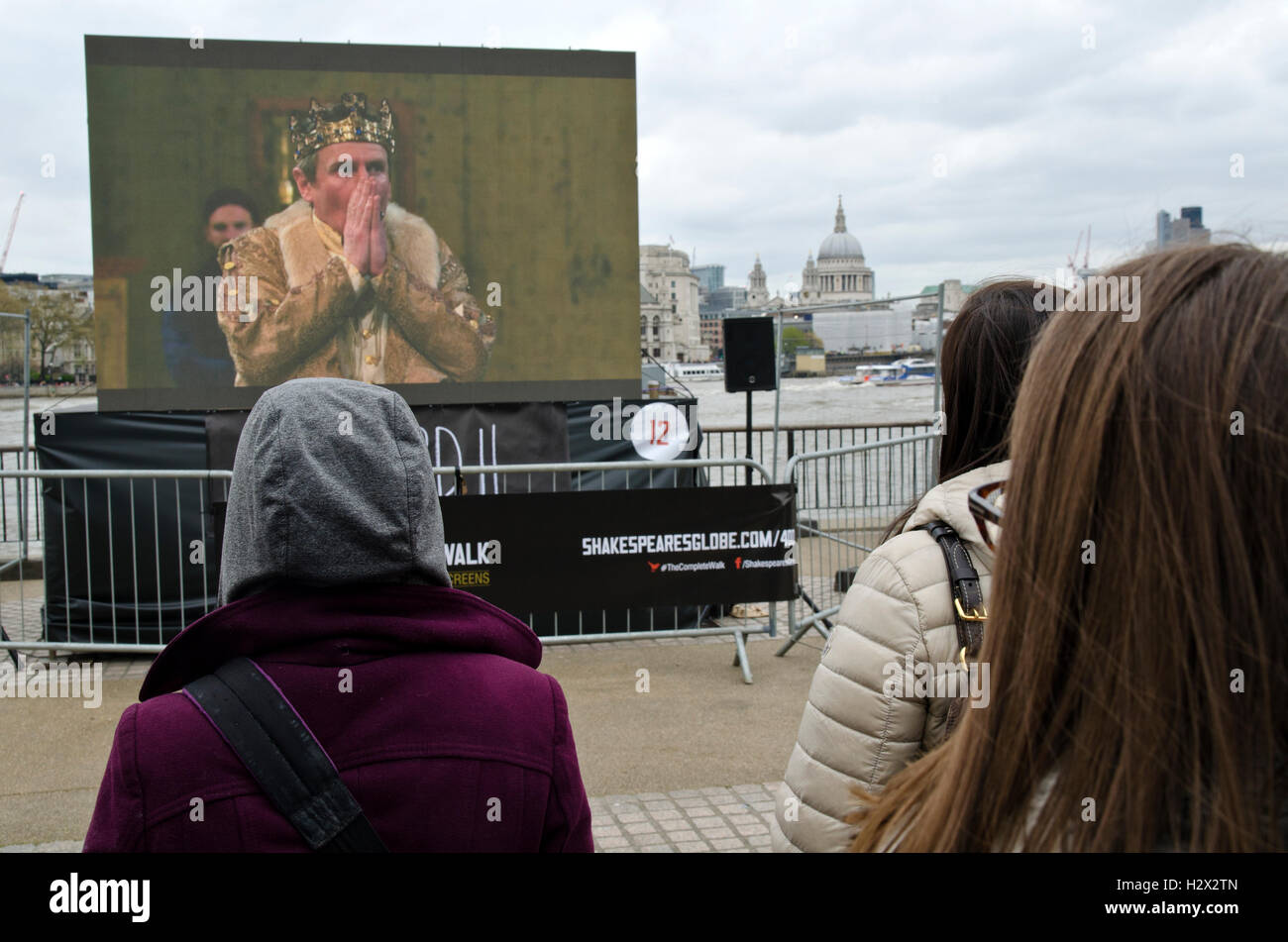 Richard II is a play by William Shakespeare / plays in open air, crowd watching in the river side - Stock Image