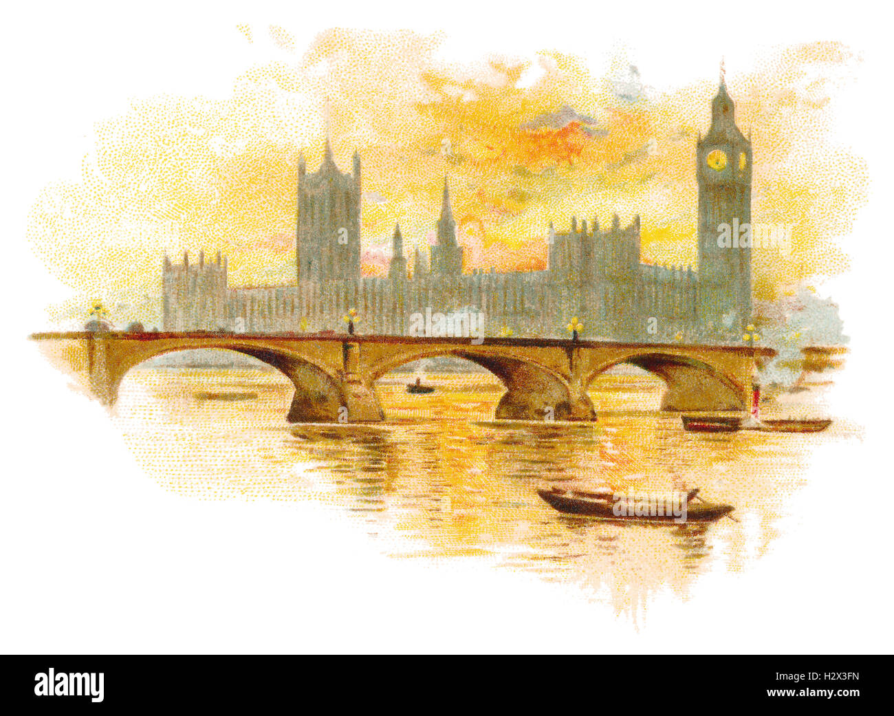 Colour illustration of the Houses Of Parliament and Westminster Bridge over the River Thames in London, England - Stock Image