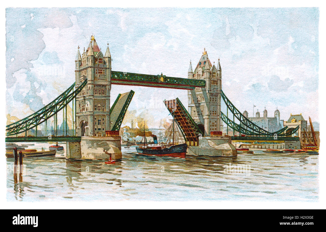 Edwardian colour illustration of Tower Bridge and the River Thames in London, England - Stock Image