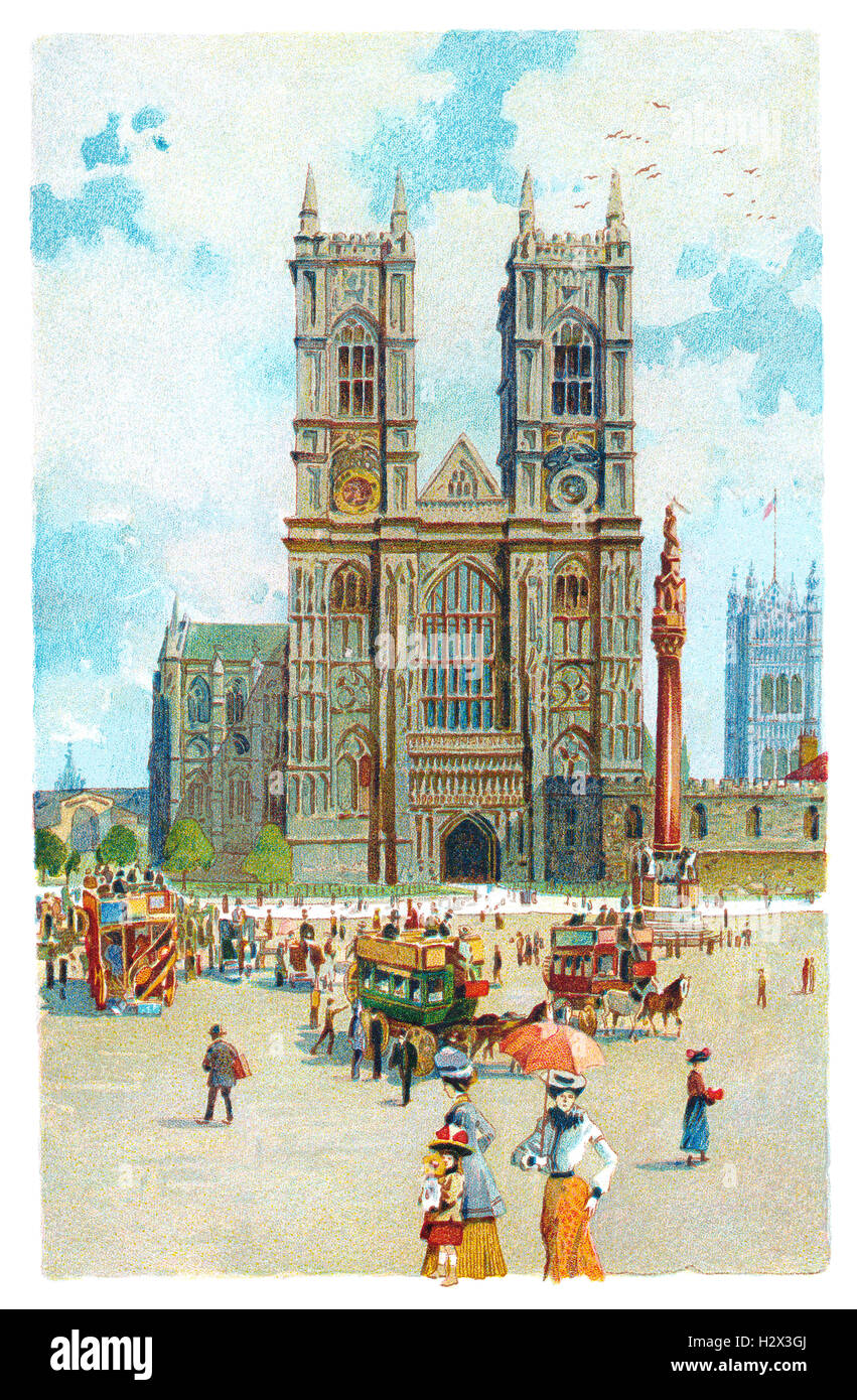 Edwardian colour illustration of Westminster Abbey in London, England - Stock Image