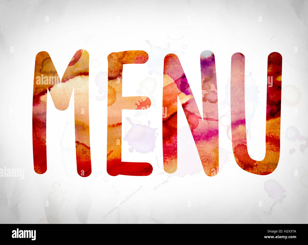 "the word ""menu"" written in watercolor washes over a white paper"