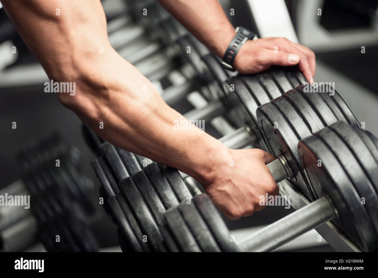 Strong well built bodybuilder lifting a dumbbell - Stock Image