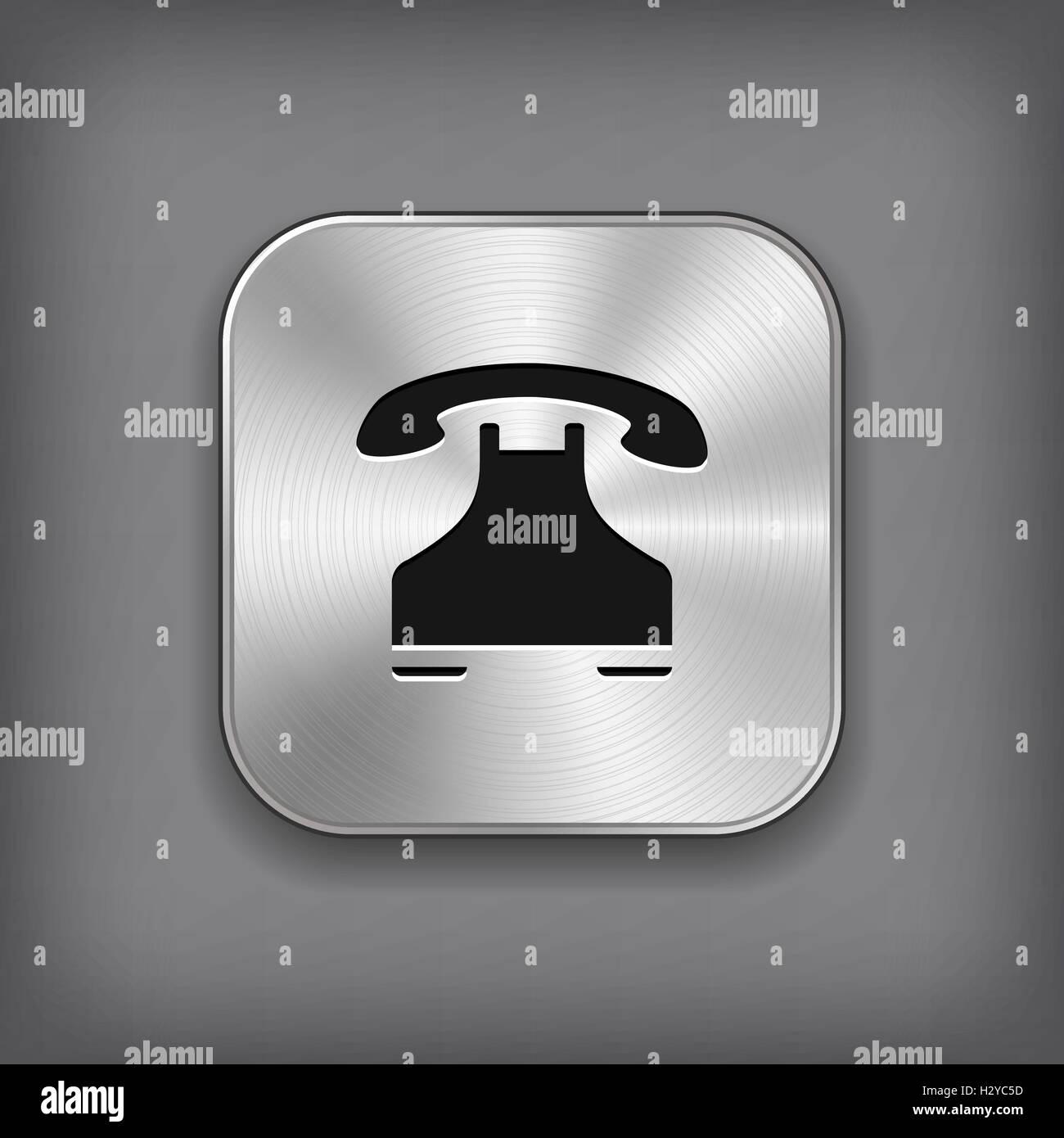 Phone icon - vector metal app button - Stock Vector