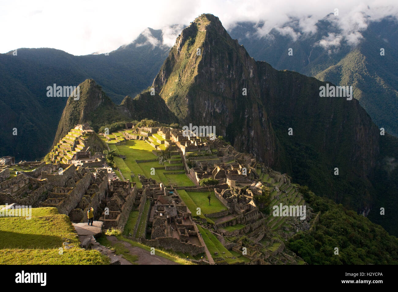 View of the Machu Picchu landscape. Machu Picchu is a city located high in the Andes Mountains in modern Peru. It - Stock Image