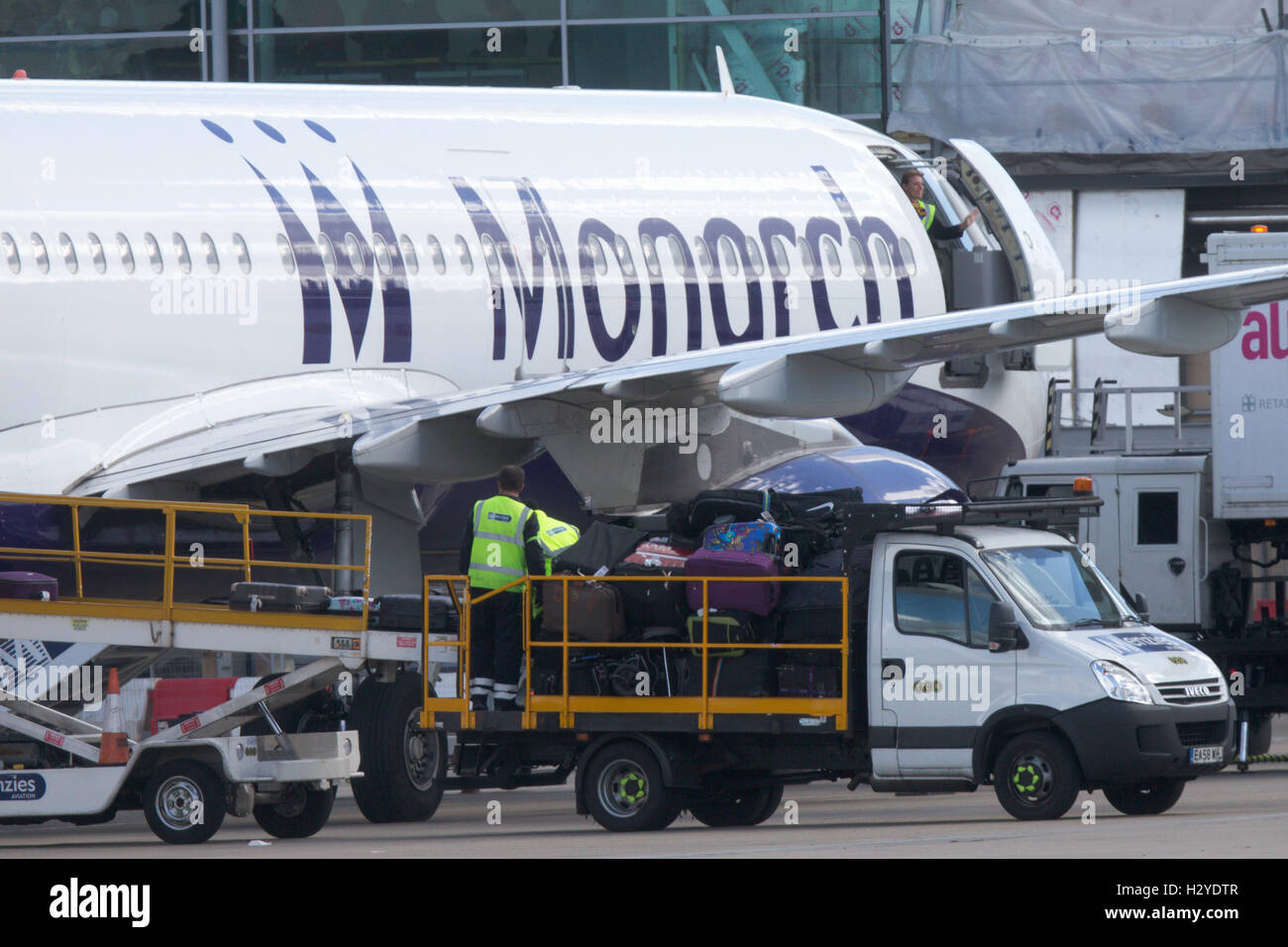 Monarch Airlines plane at Luton Airport on Friday afternoon Sept 30th - Stock Image