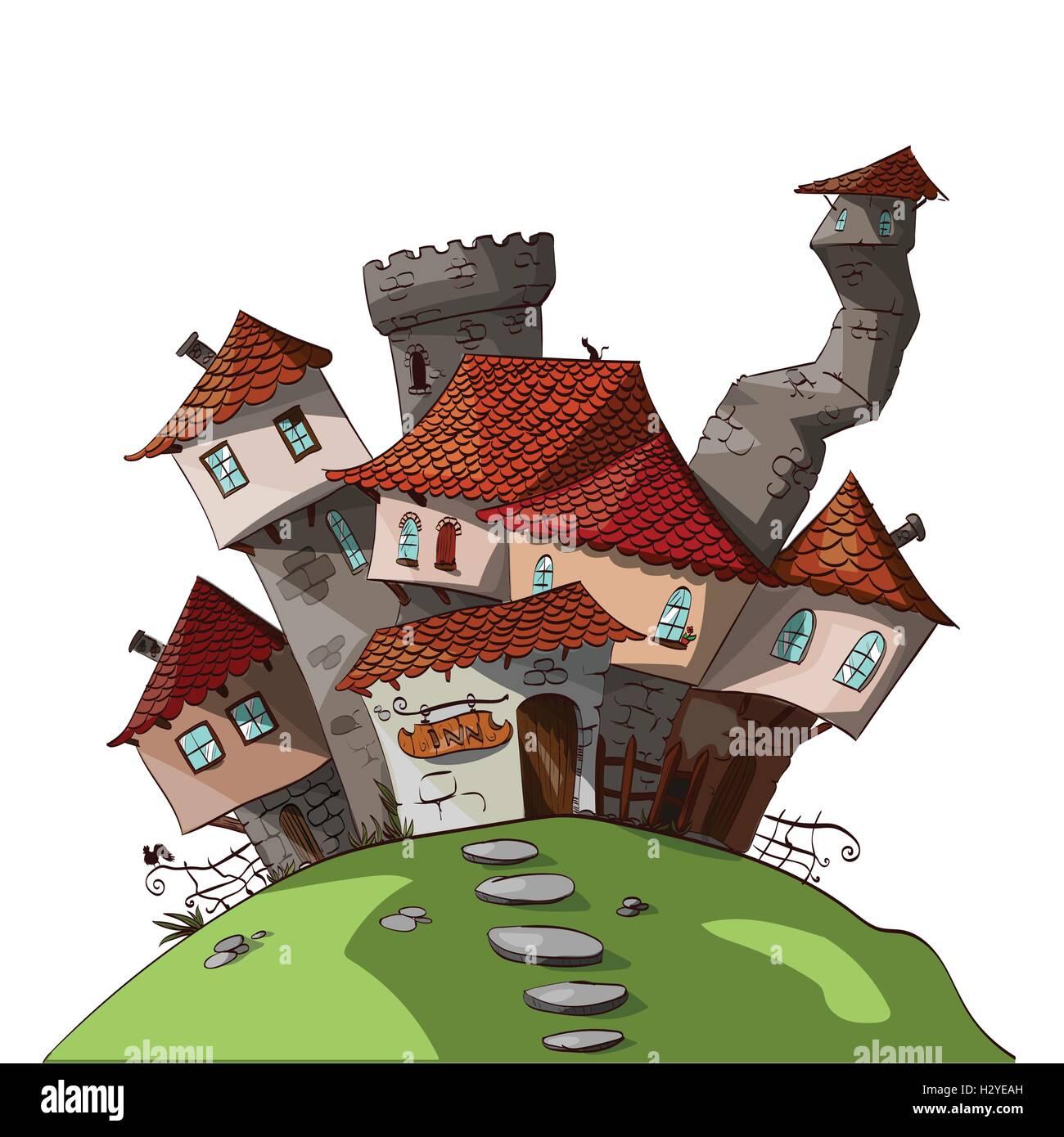 Colorful vector illustration of a cartoon small medieval / fantasy village - Stock Vector