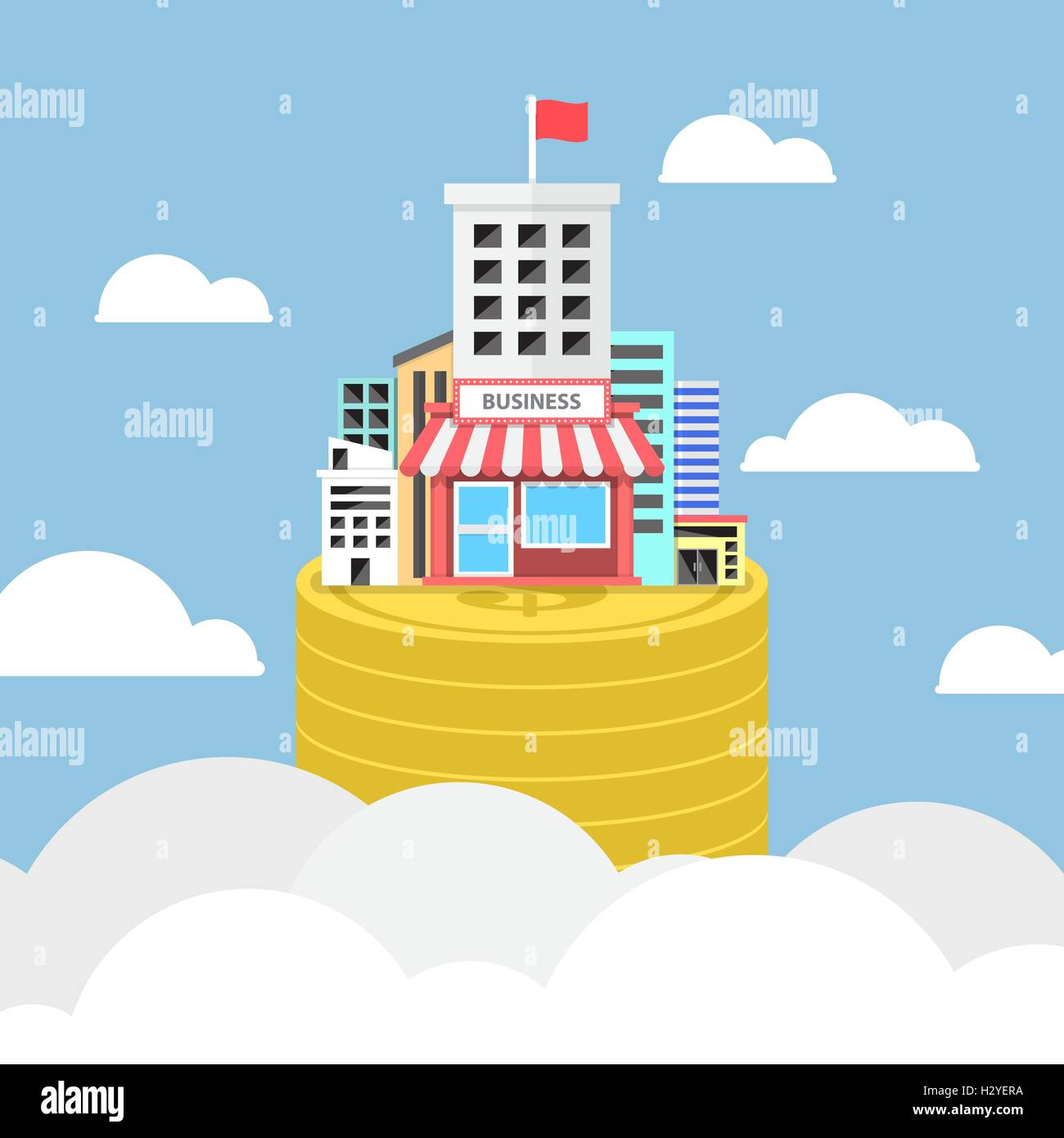Business building growing on dollar coins, real estate and economic concpet Stock Vector