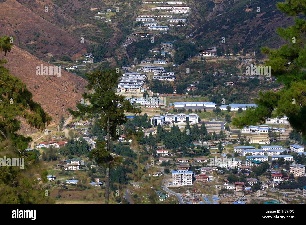 A general view of Thimphu, the capital city of Kingdom of Bhutan. - Stock Image
