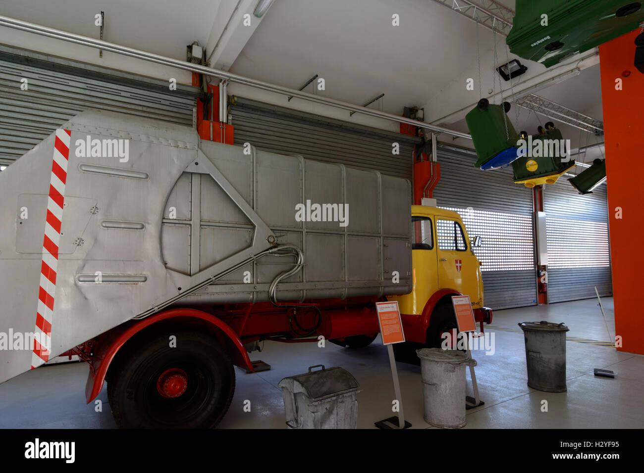 Wien, Vienna: Rautenweg landfill , '48 Museum , historic garbage truck, 22., Wien, Austria - Stock Image