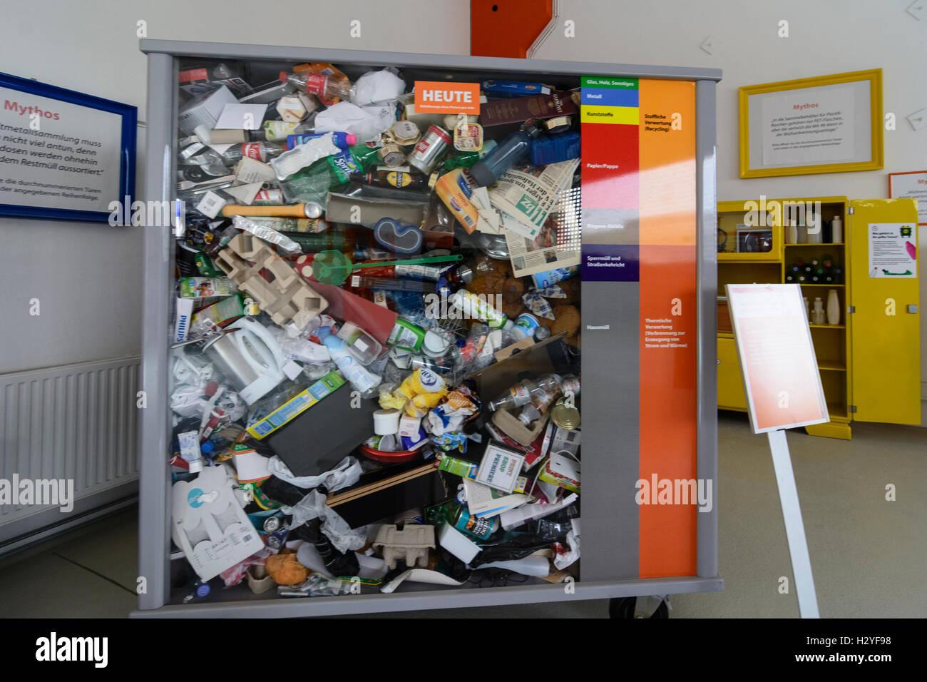 Wien, Vienna: Rautenweg landfill , '48 Museum , waste volume by 1 person in 2000, 22., Wien, Austria - Stock Image