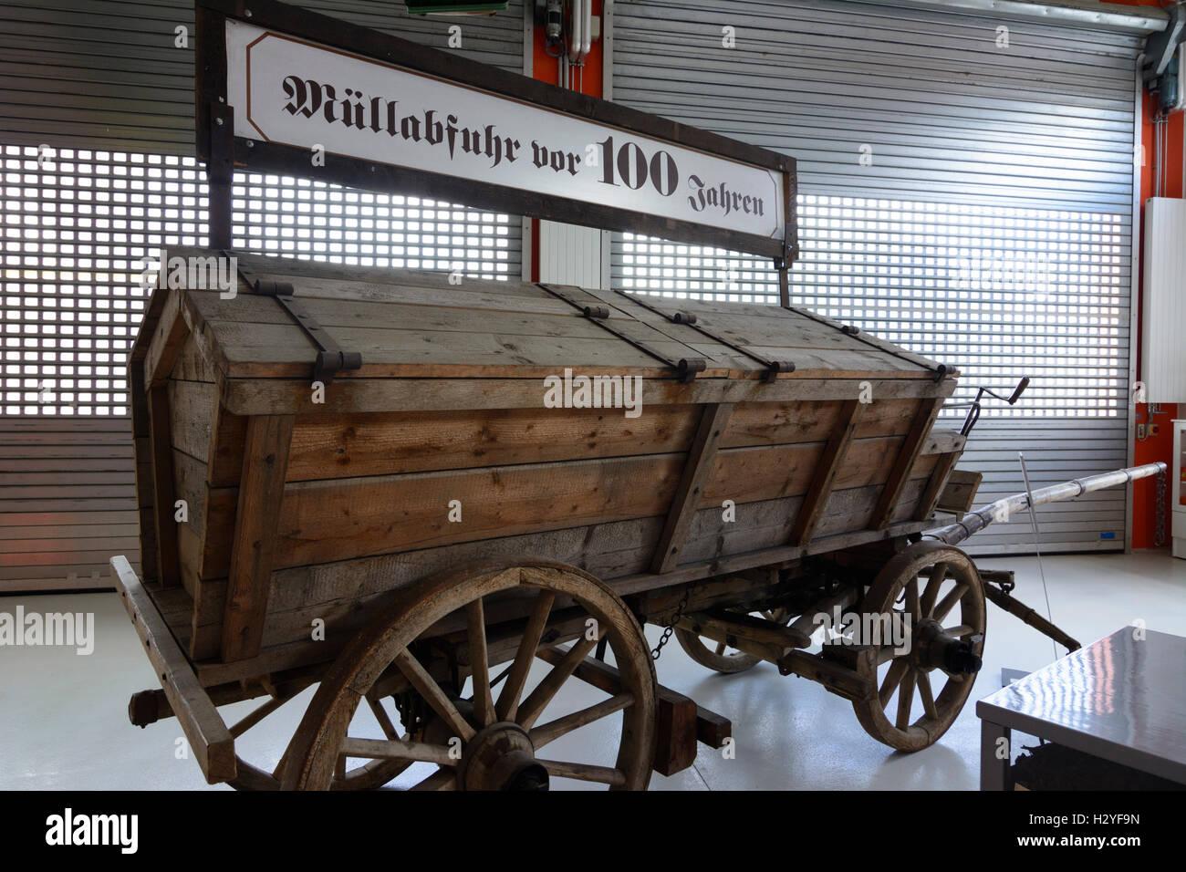 Wien, Vienna: Rautenweg landfill , '48 - Museum , refuse truck of 1900, 22., Wien, Austria - Stock Image