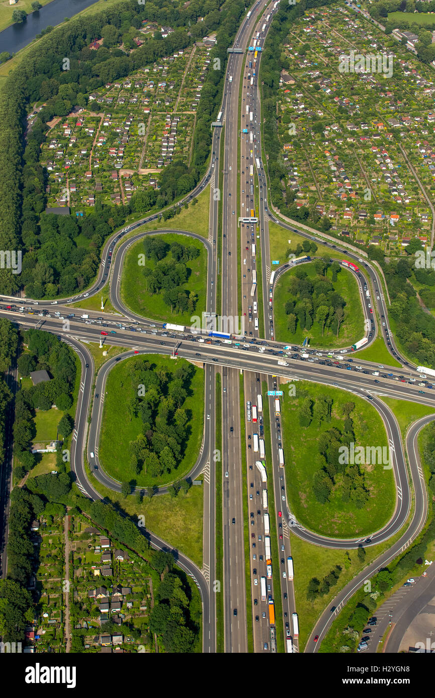 Aerial view, traffic congestion, A59 and A40 motorway, Duisburg, Ruhr District, North Rhine-Westphalia, Germany - Stock Image