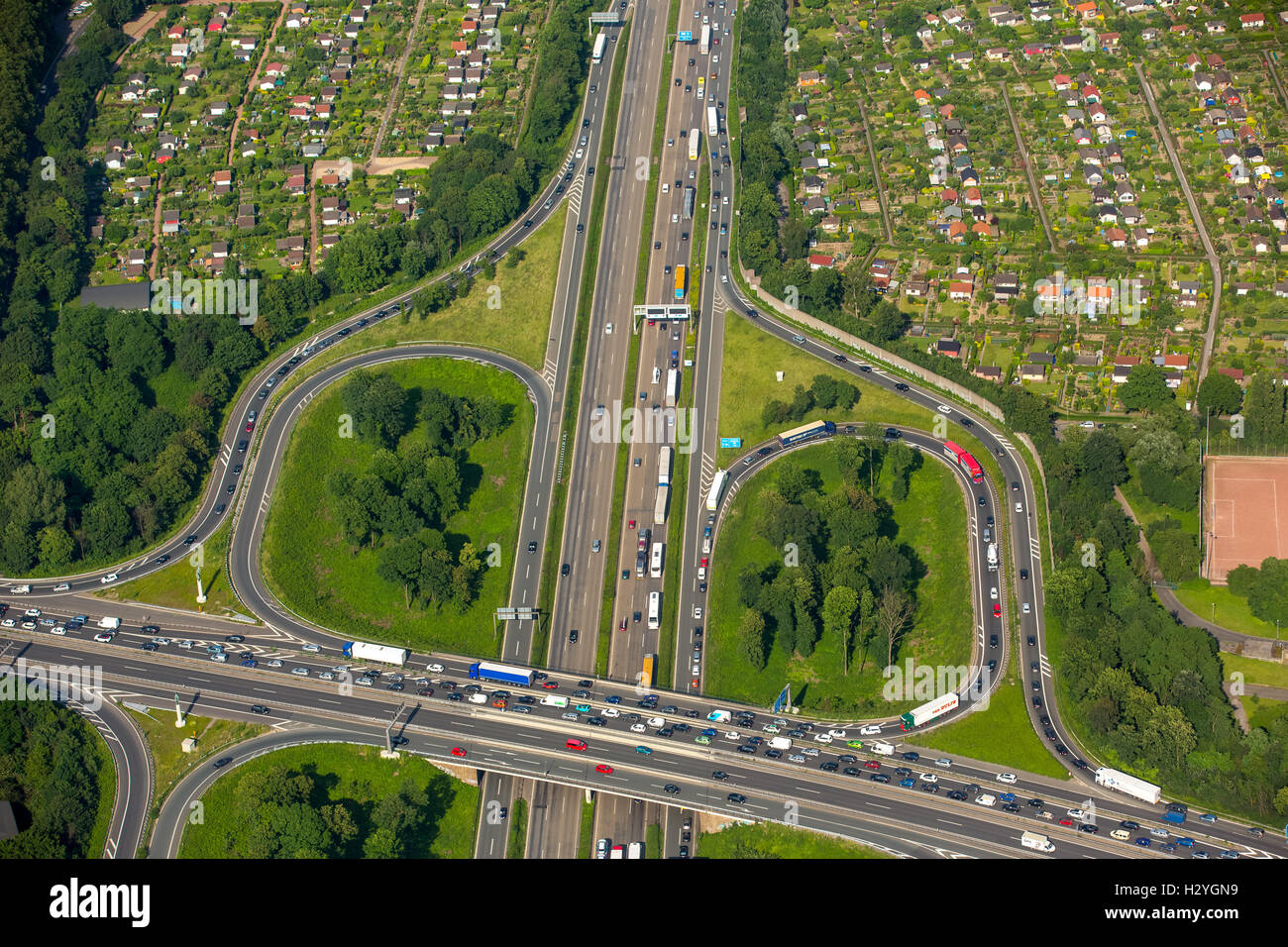 Aerial view, traffic congestion, A59 and A40 motorway, Autobahn, Duisburg, Ruhr District, North Rhine-Westphalia, - Stock Image