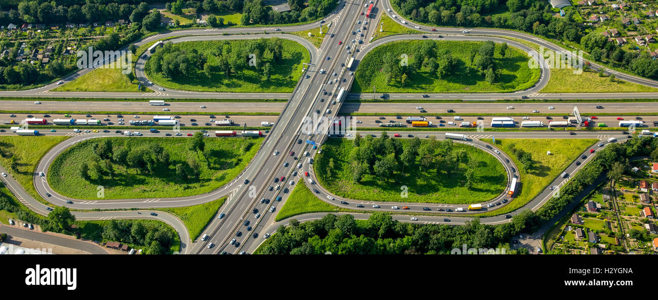 Aerial view, traffic congestion, traffic jam on the A59 and A40 motorway, Autobahn, Duisburg, Ruhr District - Stock Image