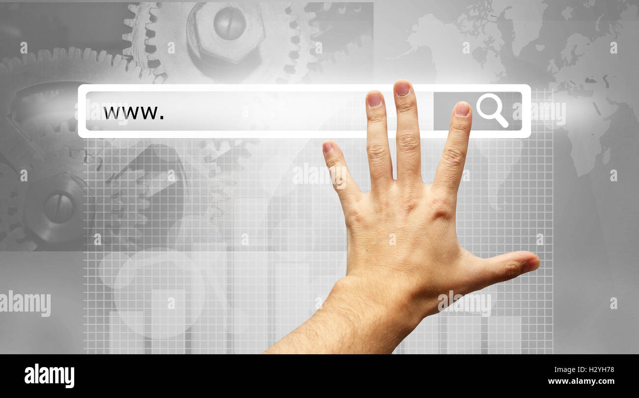 www written in search bar - male hand pressing Search button - Stock Image