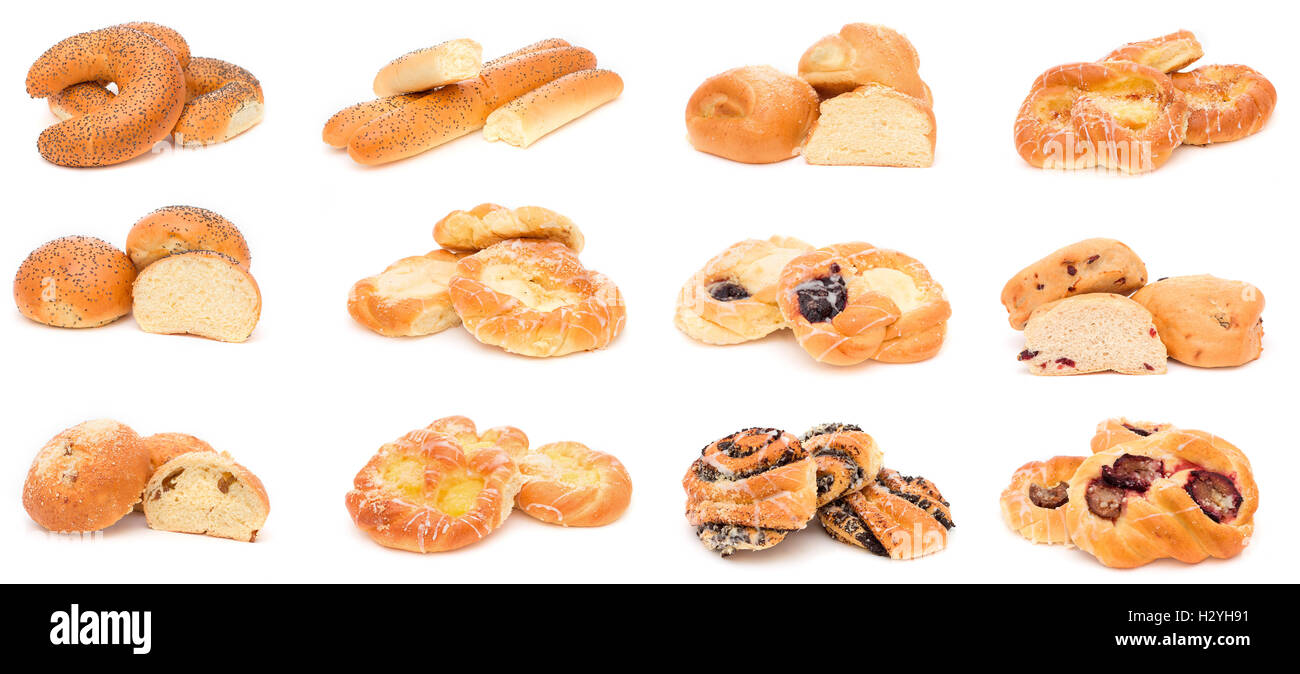 Collection Of Various Types Breads Rolls And Buns