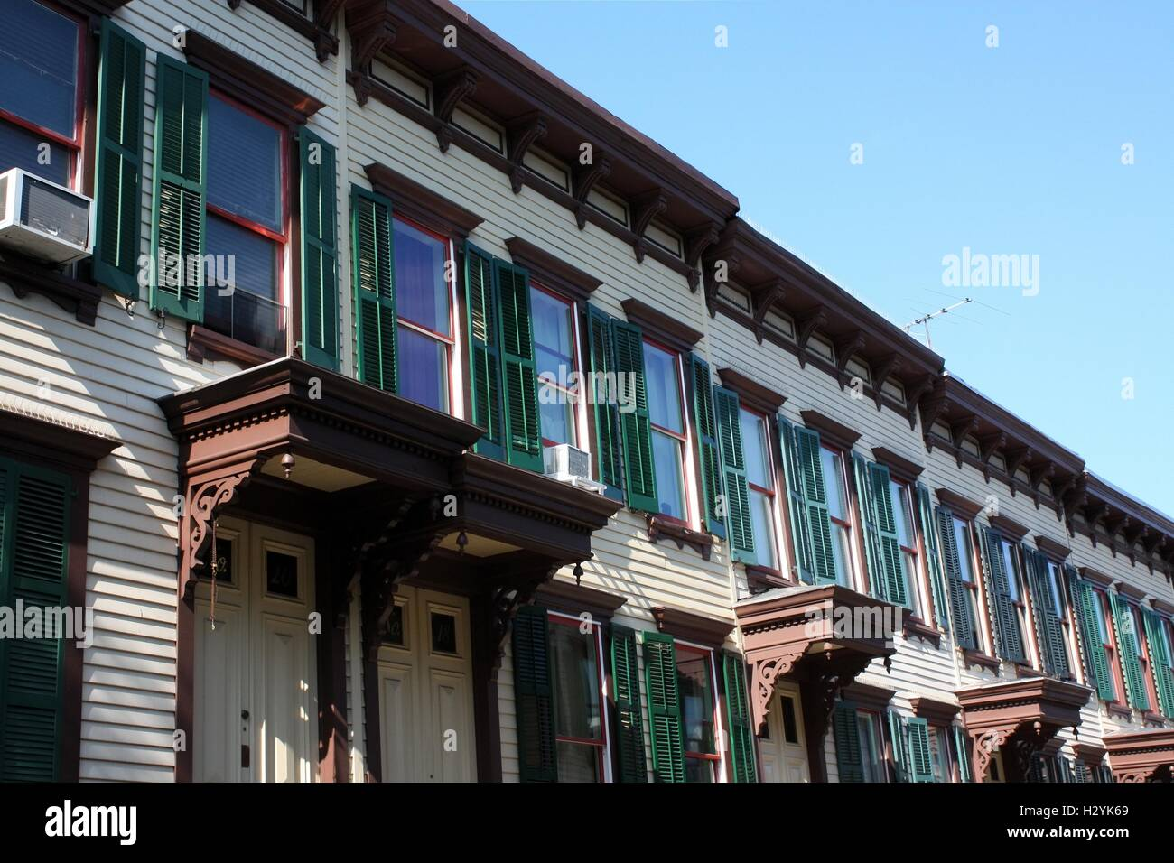 Sylvan Terrace wooden frame houses were built in 1882-1883 and are part of Jumel Terrace Historic District in Washington - Stock Image