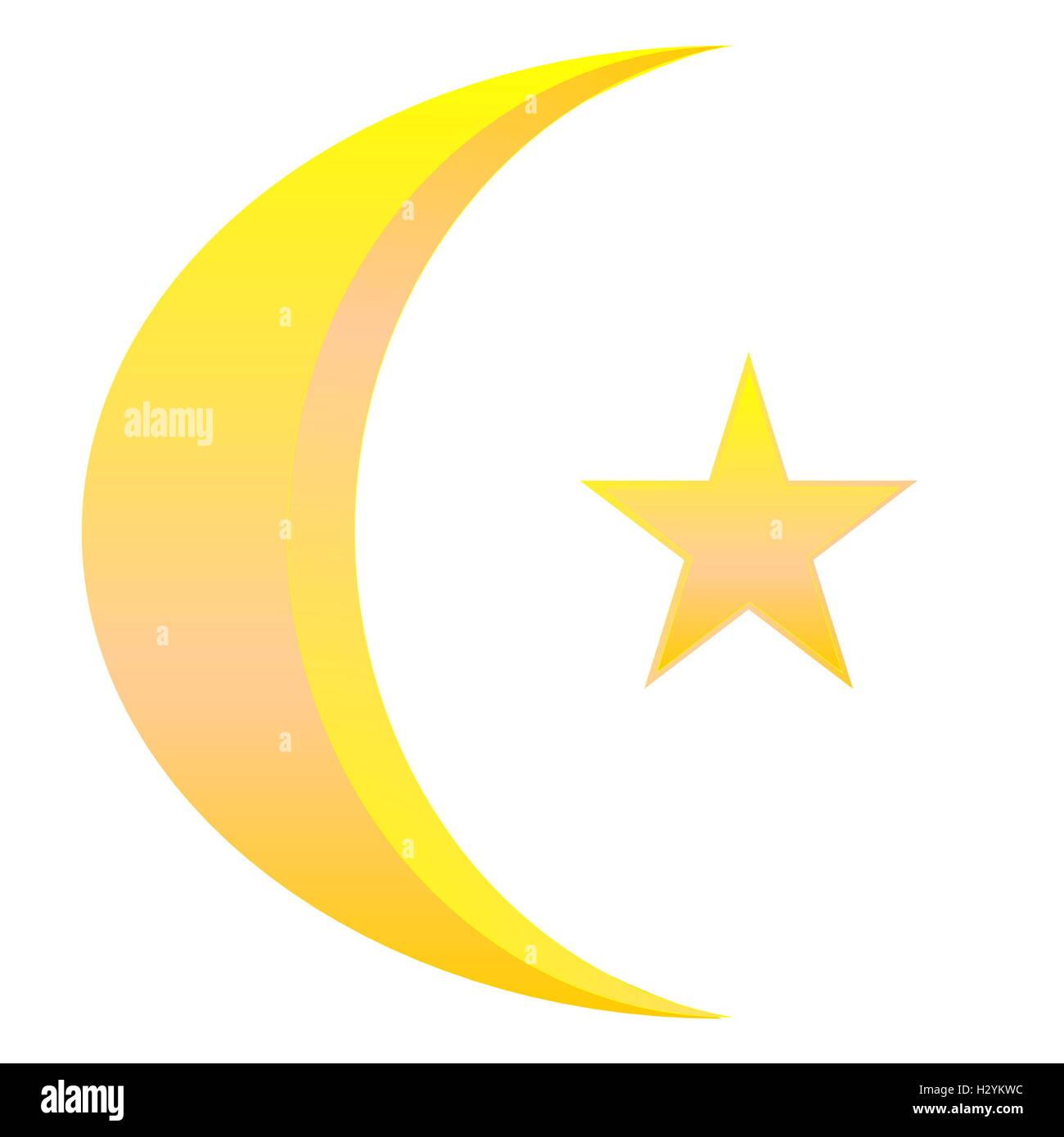 Crescent Star Golden Isolated Islam Moon Religion Faith Stock Photos