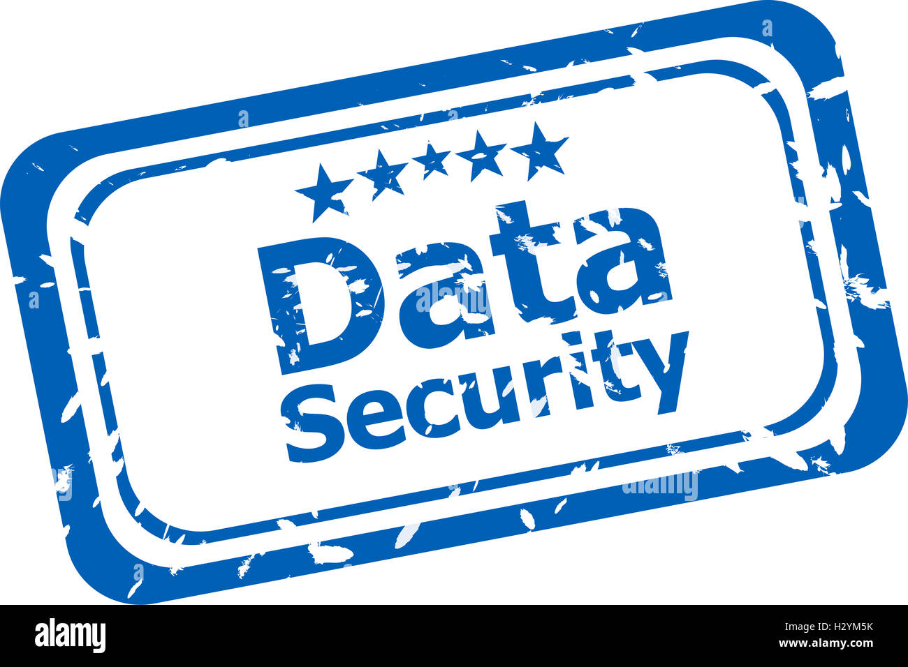 data security on rubber stamp over a white background - Stock Image