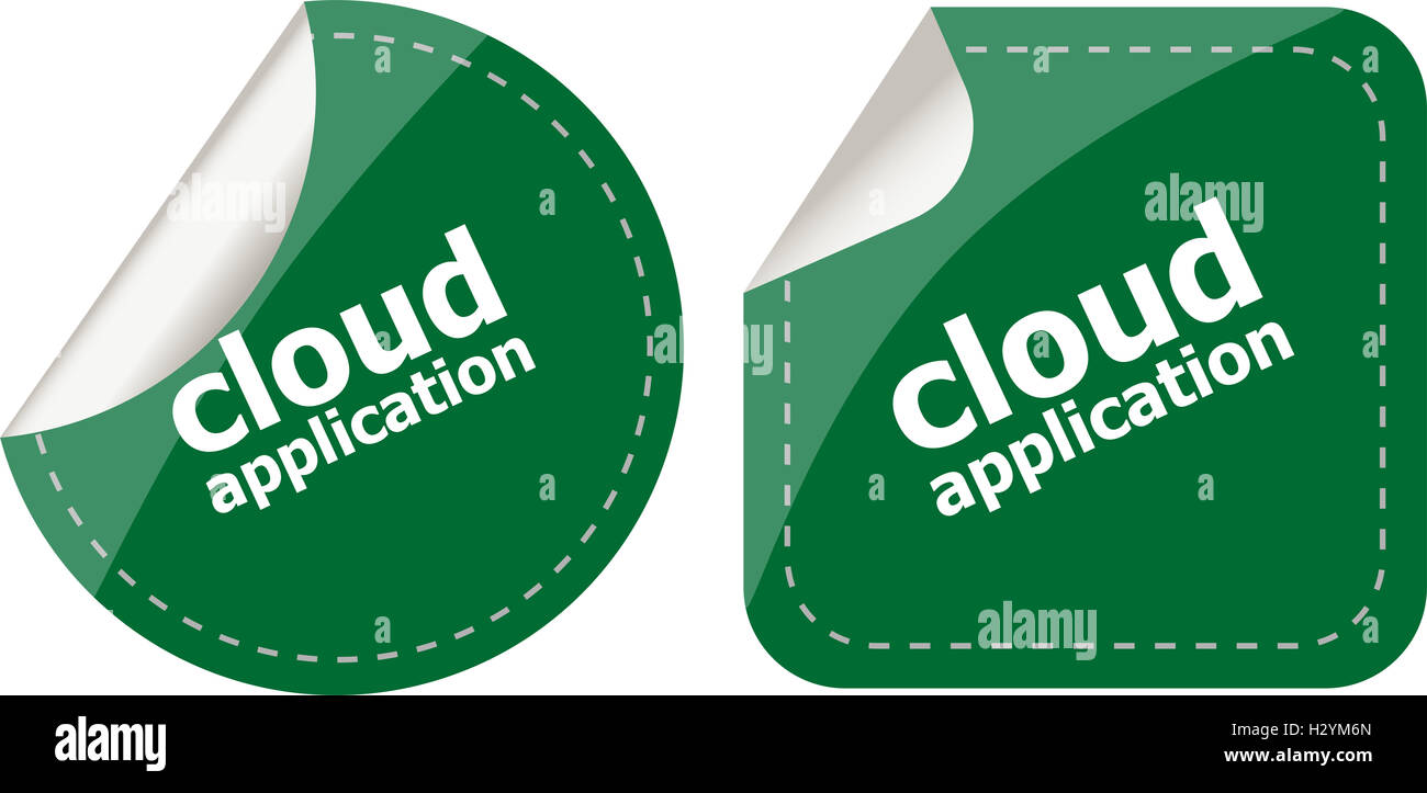 cloud application stickers label tag set isolated - Stock Image