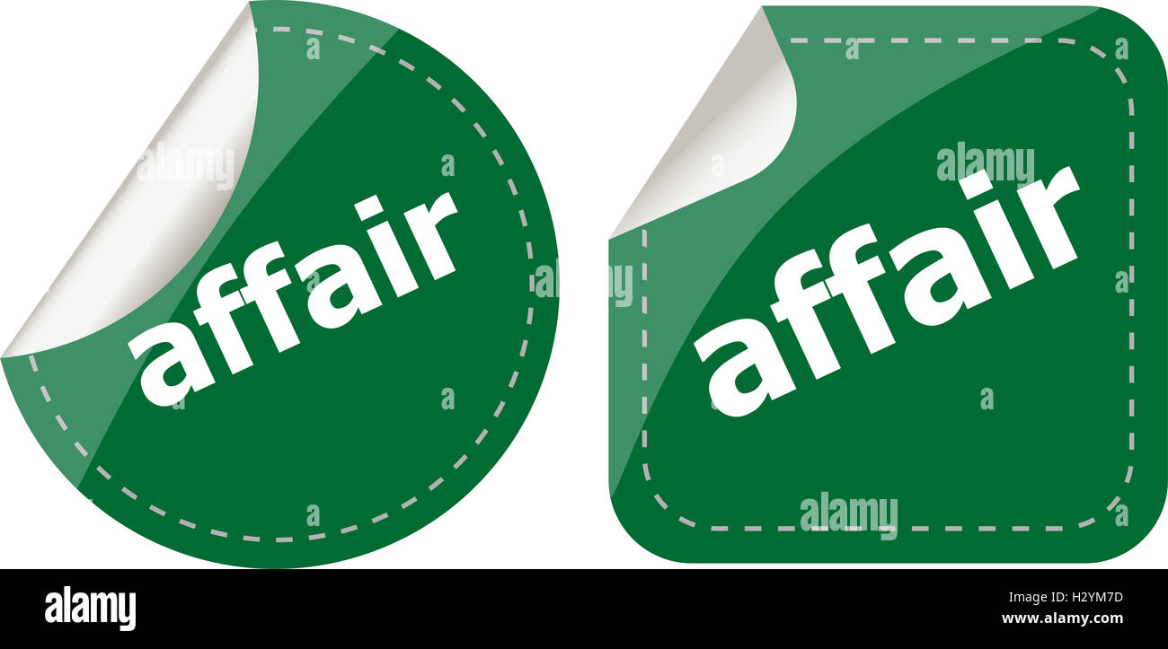affair word stickers set, icon button, business concept - Stock Image