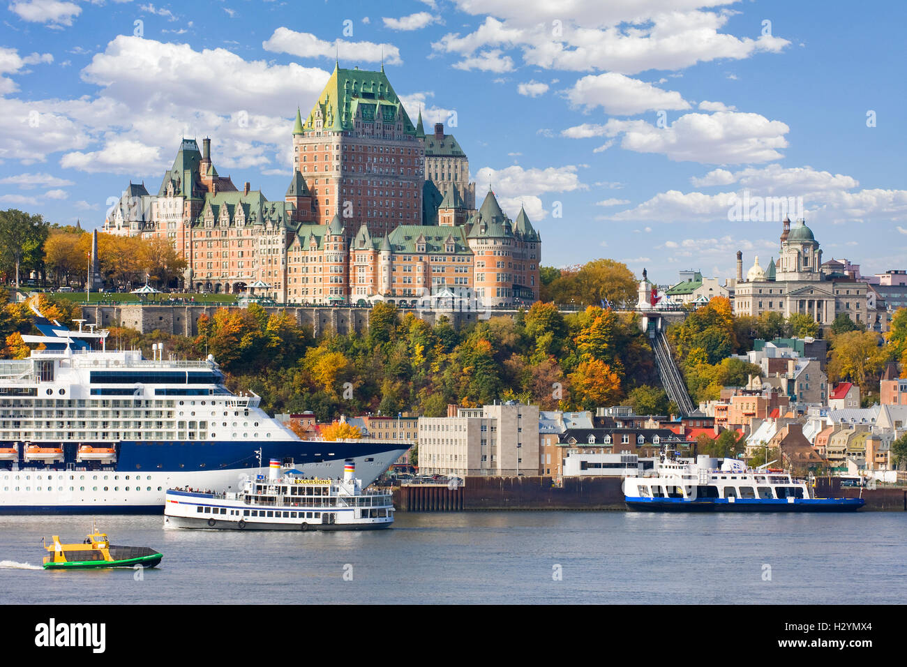 Quebec City skyline and St Lawrence River in autumn, Canada - Stock Image