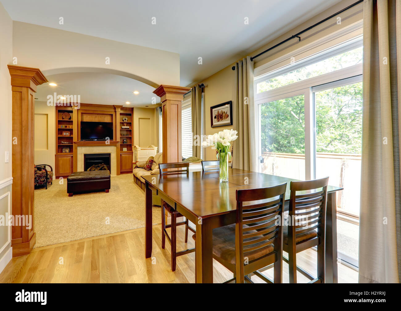 luxury home interior with column wall stock photo 122313370 alamy