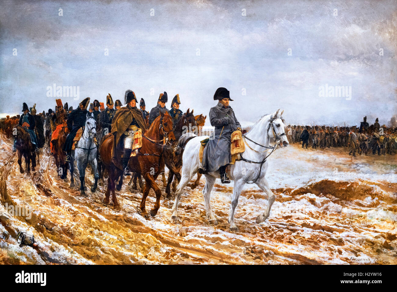 Campagne de France, 1814 by Ernest Meissonier, oil on canvas, 1864. Napoleon Bonaparte (1769-1821) and his staff - Stock Image