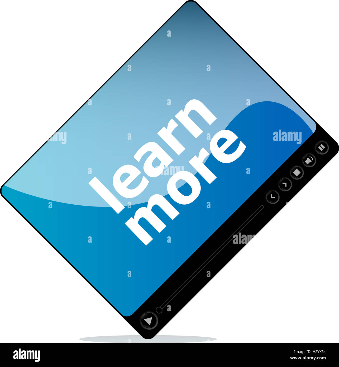 Video movie media player with learn more on it - Stock Image