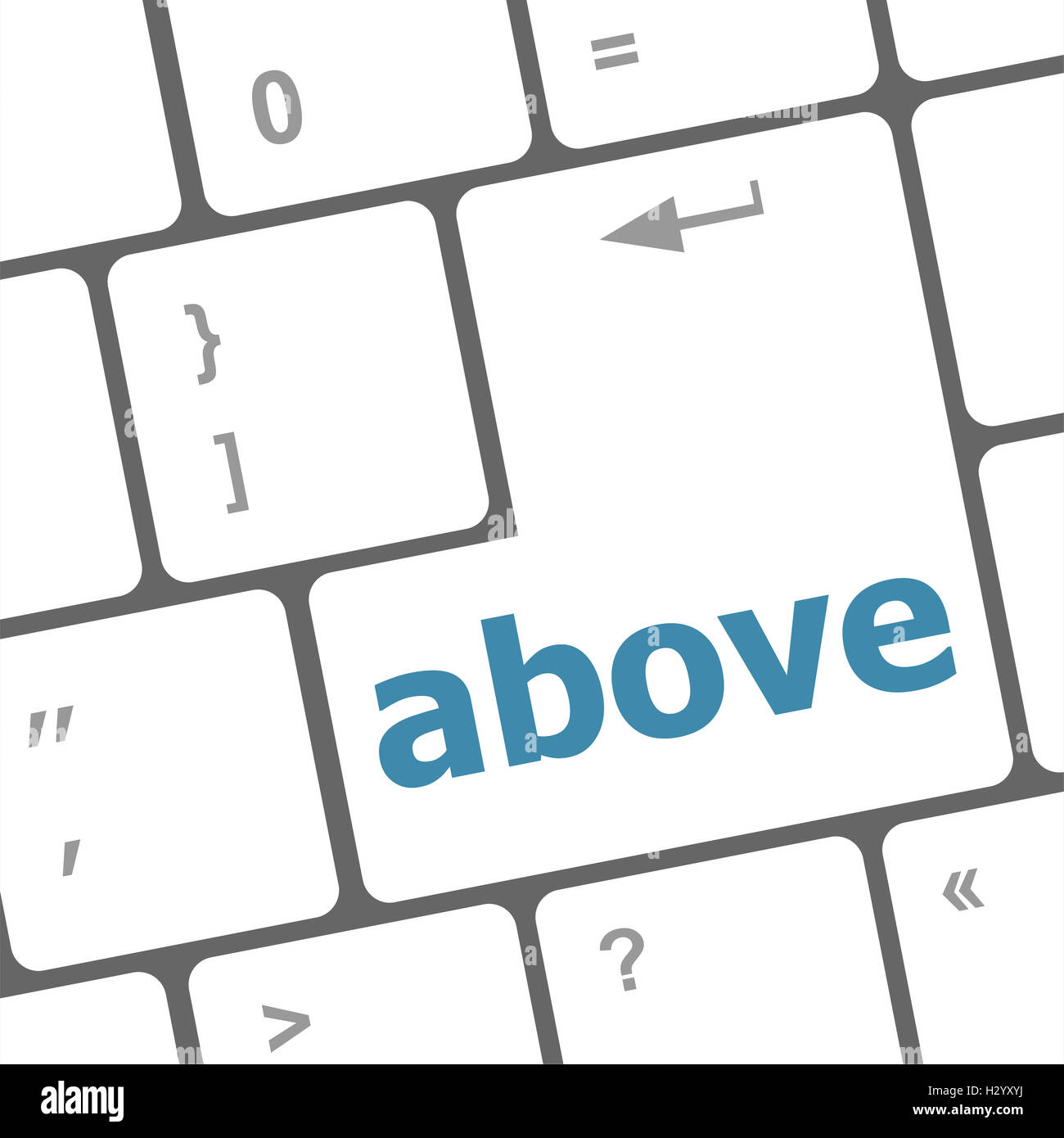 above on computer keyboard key enter button - Stock Image