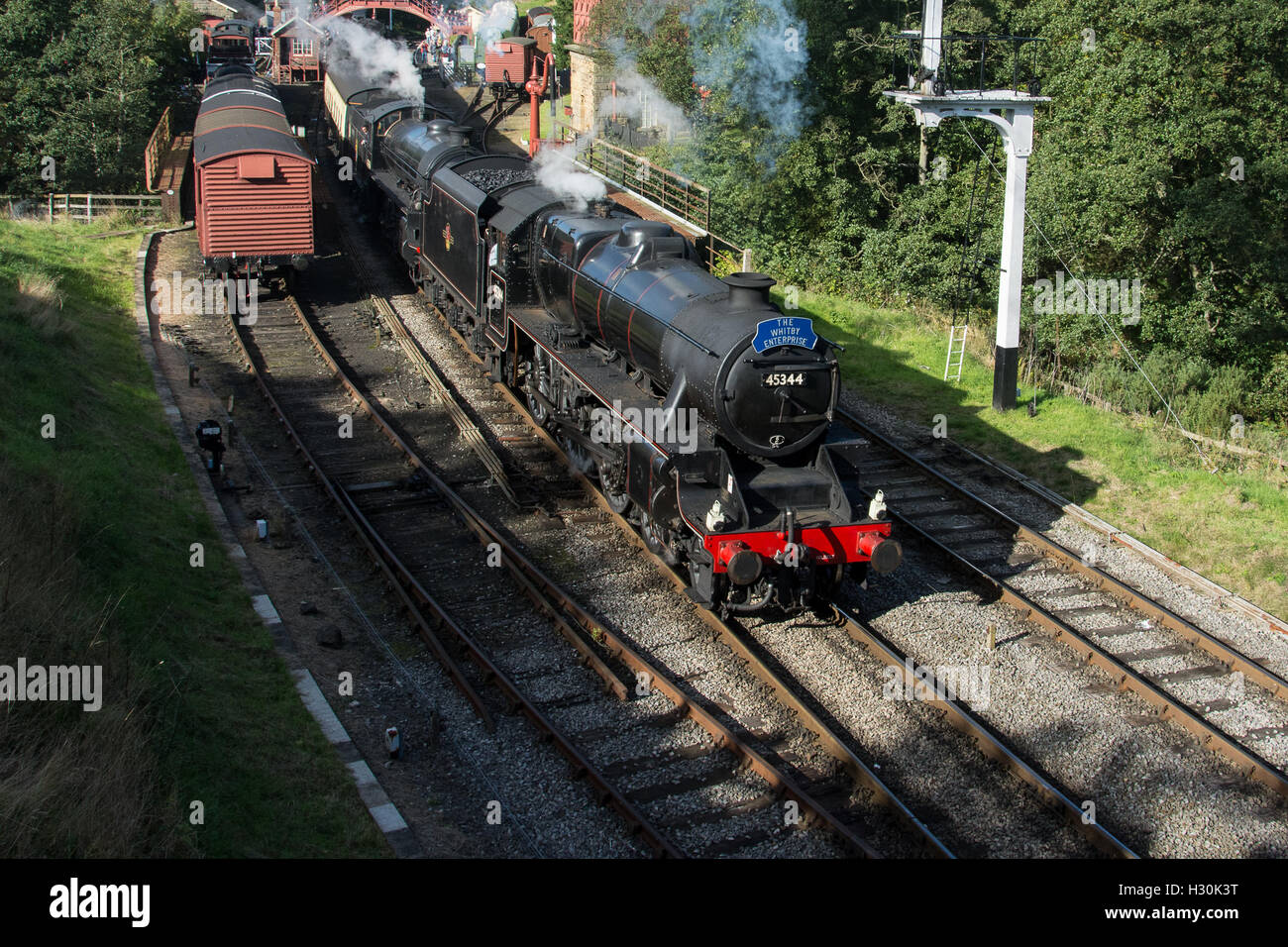 Black 5 45428 (as 45344) and B1 61264 at Goathland on the North Yorkshire Moors Railway.Welsh steam gala. Stock Photo