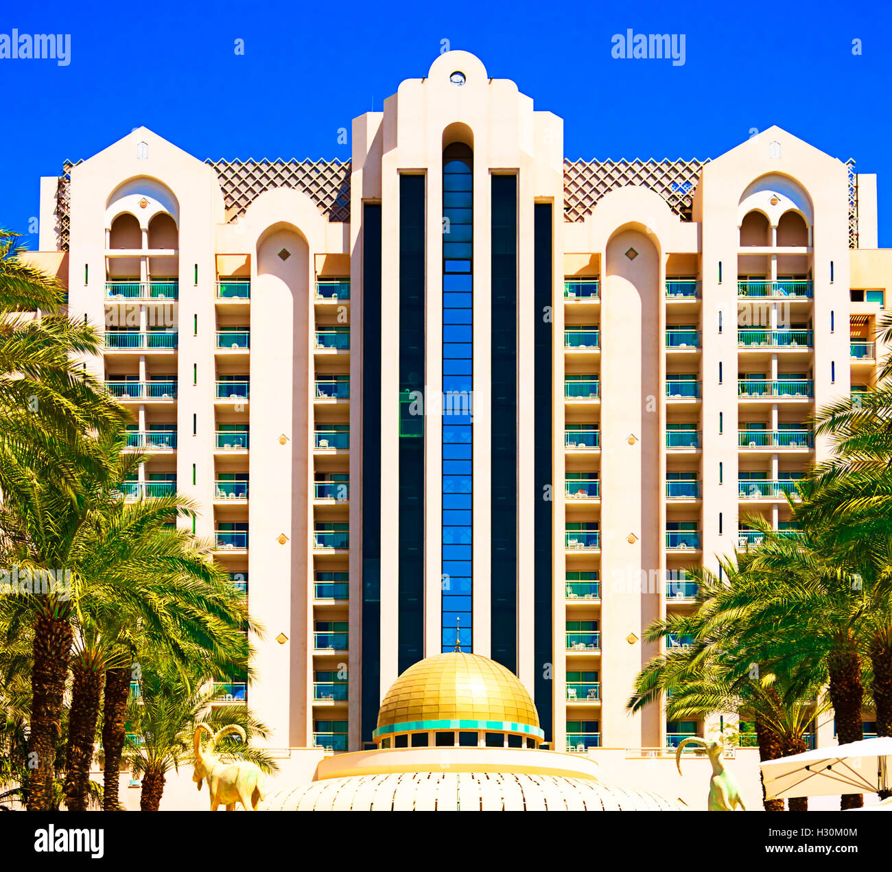 Herods Palace Hotel five stars. Front view. Eilat. - Stock Image