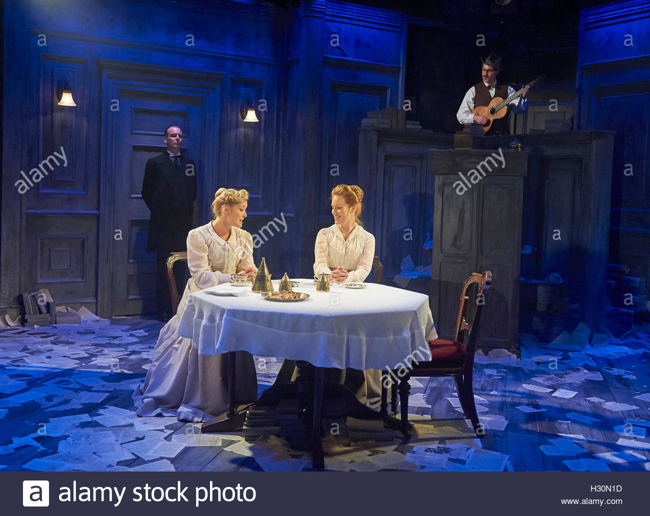 Travesties by Tom Stoppard, directed by Patrick Marber. With Amy Morgan as Gwendolen,  Clare Foster as Cecily. Opens - Stock Image