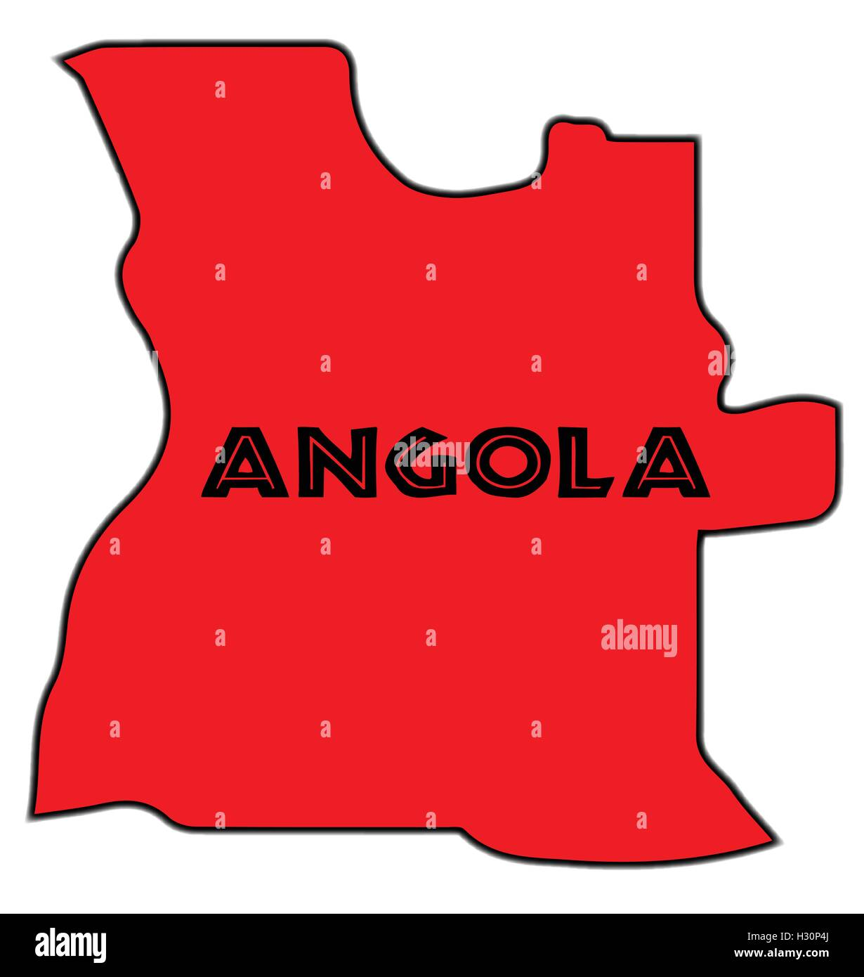 Angola outline silhouette map over a white background - Stock Vector