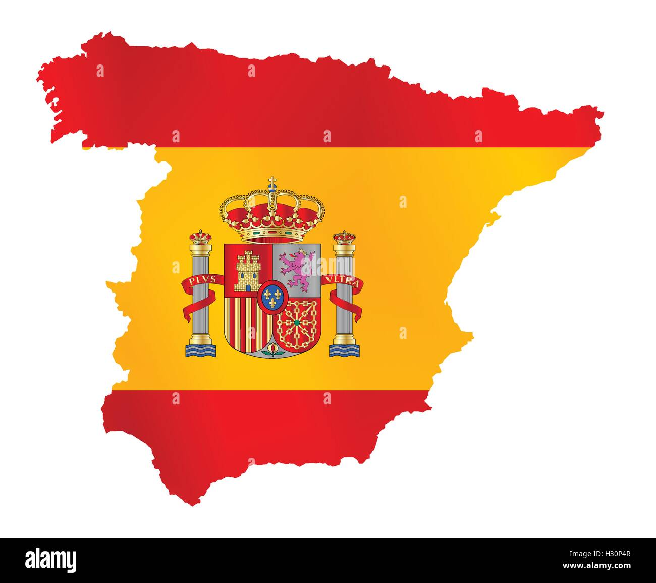Country Of Spain Map.Silhouette Outline Map Over The Flag Of The Eu Country Of Spain