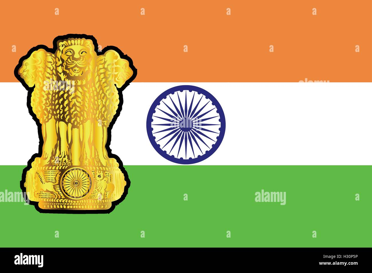 The flag and national emblem of India in white green and