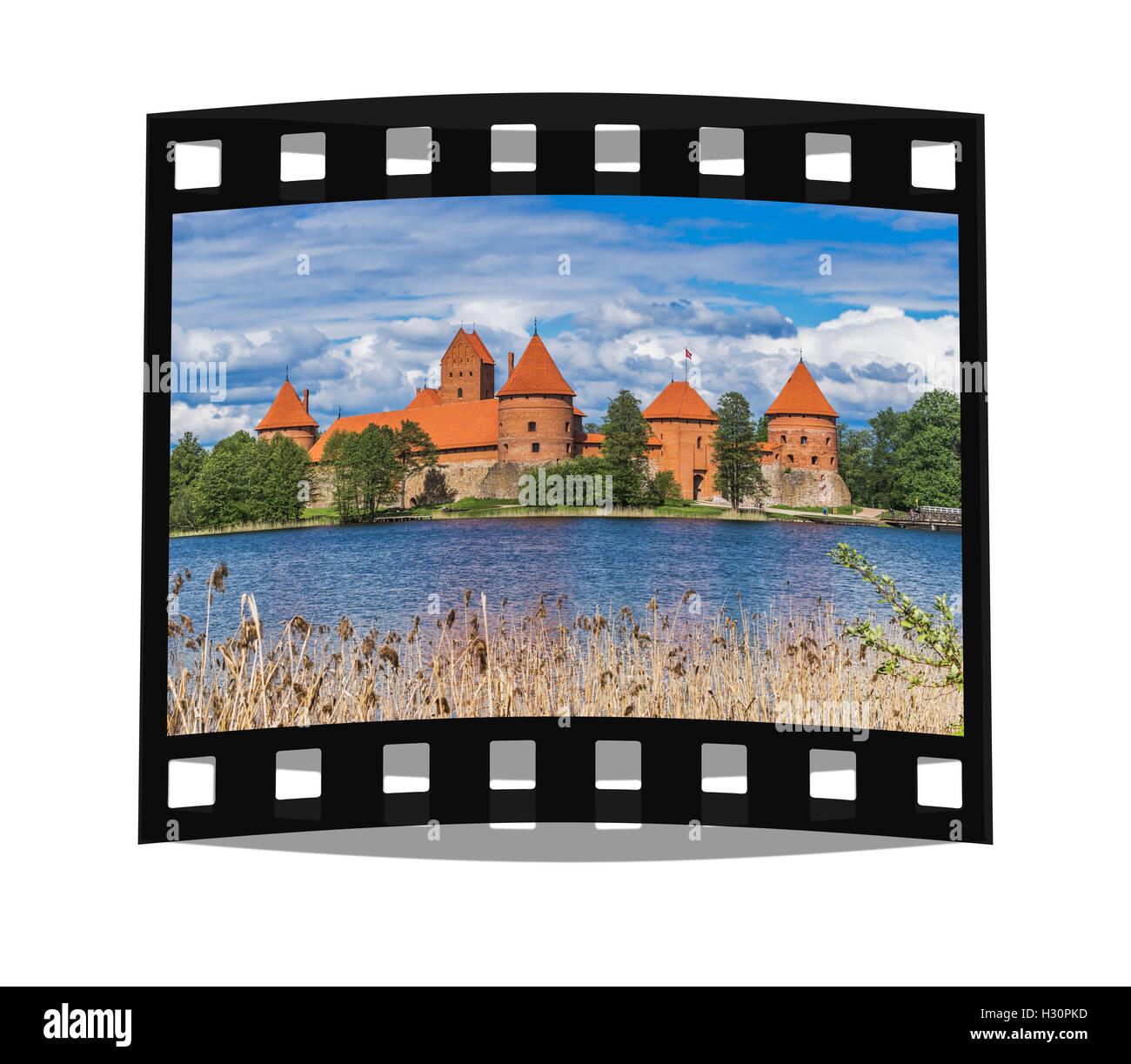 Die Wasserburg Trakai wurde im 14. Jahrhundert errichtet und befindet sich in der Nähe von Vilnius,  - Stock Image