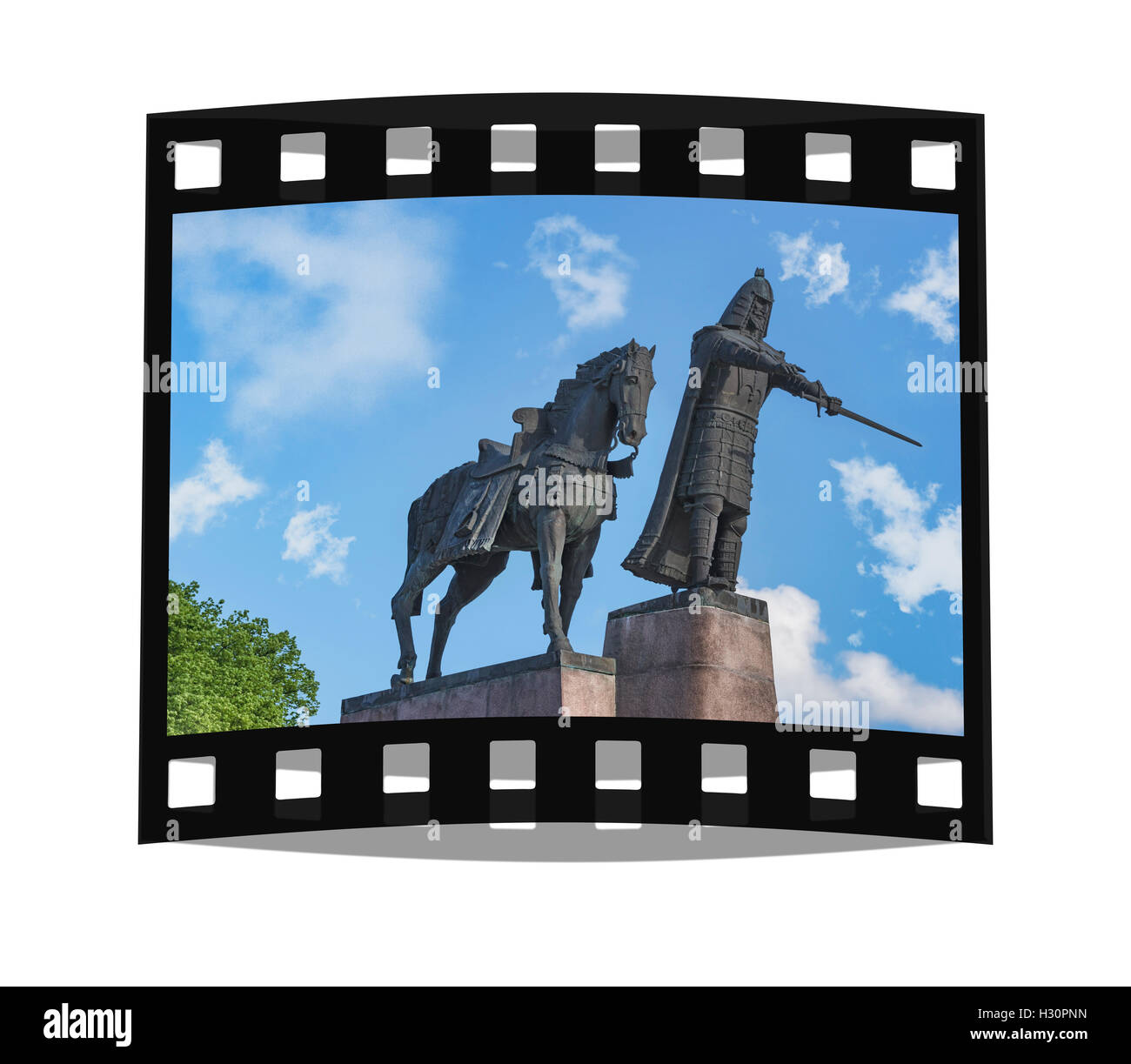 The monument of the Grand Duke of Lithuania Gediminas, one of the most famous rulers of old Lithuania, Vilnius, - Stock Image