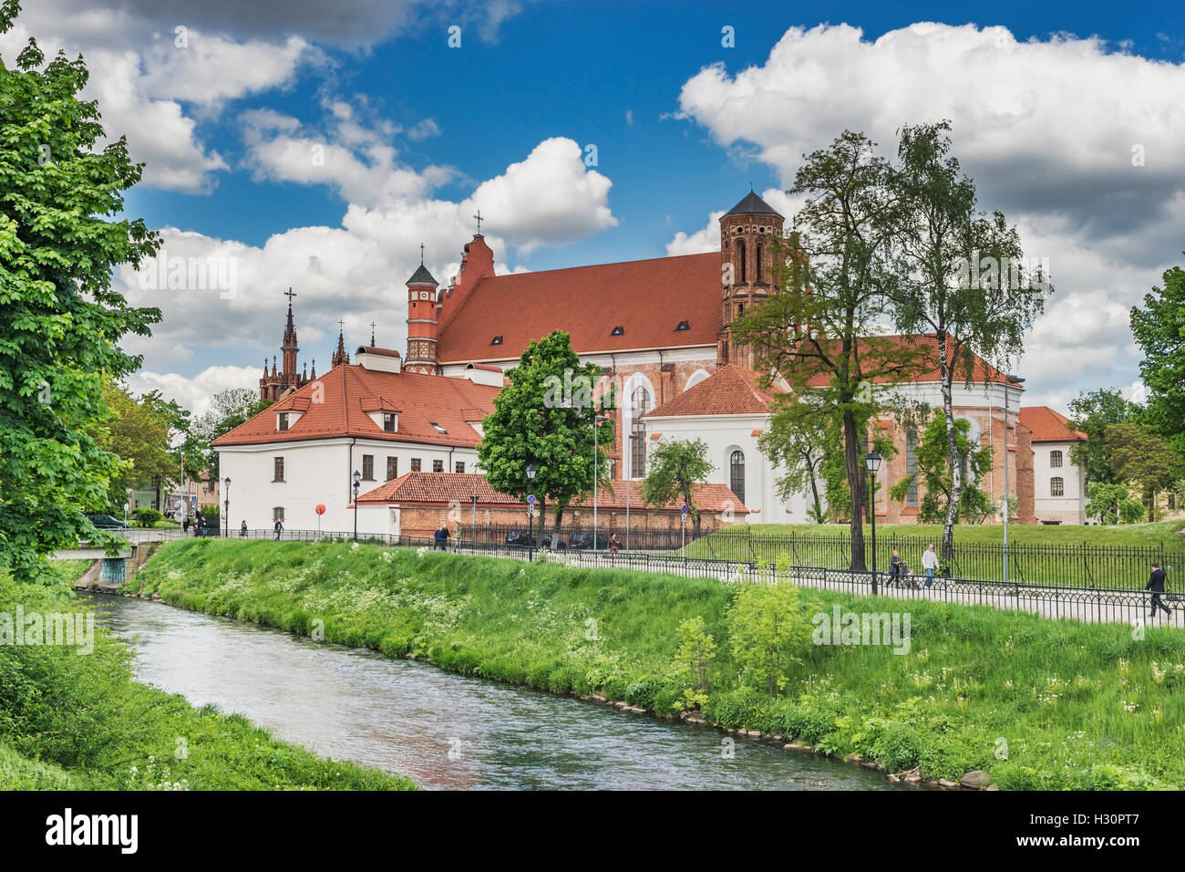 View over the river Vilnia to the Saint Bernard Church, Vilnius, Lithuania, Baltic States, Europe - Stock Image