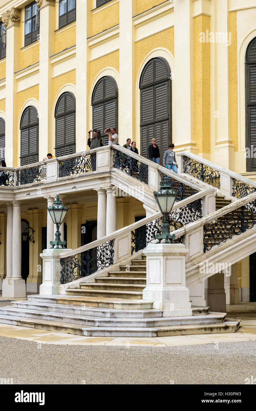 Grand external staircase at the rear of Schonbrunn palace. - Stock Image