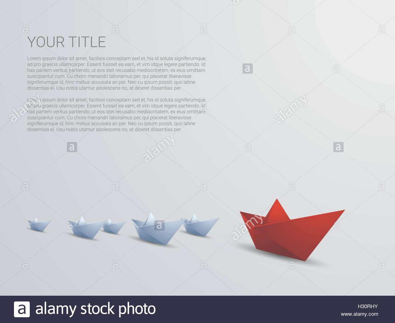 Leadership Business Concept Vector With Red Paper Boat Leading White Presentation Template And Space For Text