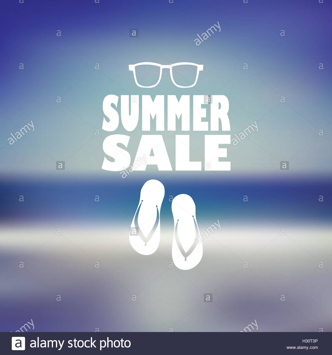 96c0fca05 Summer sale poster with flip flops and sunglasses. Beach blurred background  flyer for promotion