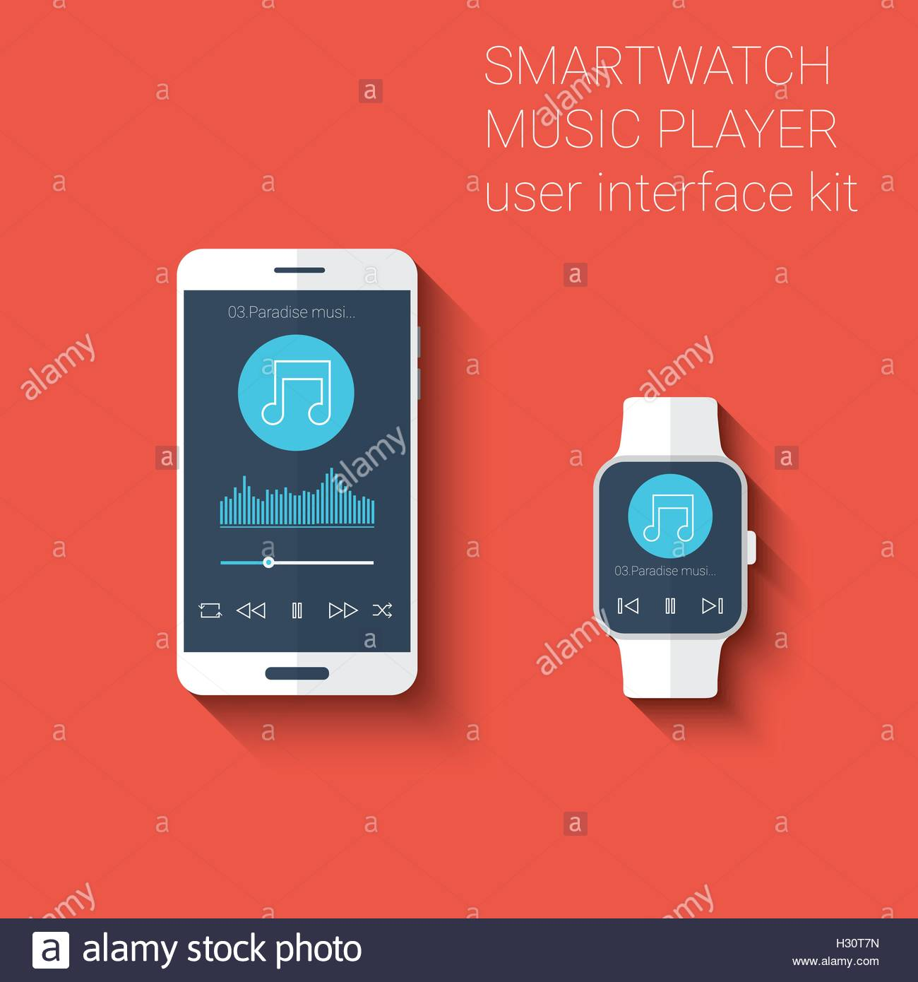 Smartphone and smartwatch music player user interface icons kit. Wearable technology concept in modern flat design - Stock Image