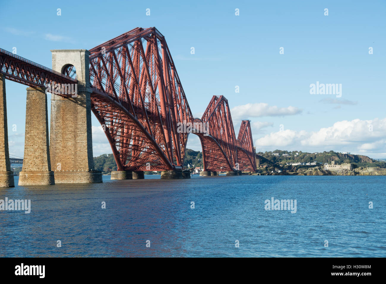 South Queensferry, Scotland, UK. 2nd October, 2016. The majestic Forth Rail Bridge crossing from South Queensferry - Stock Image