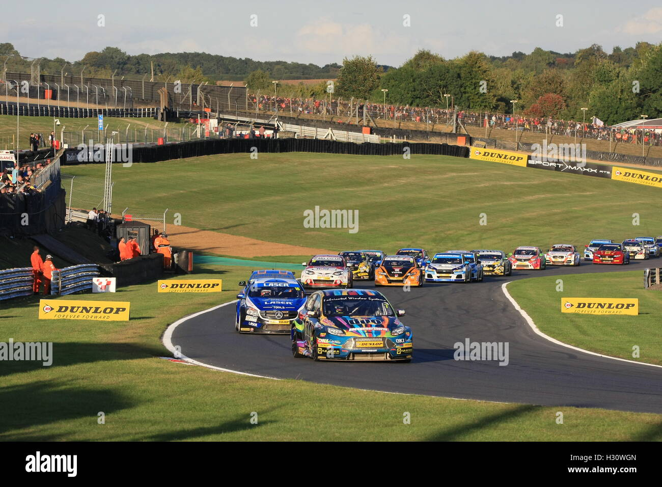 Action from the final round of the 2016 Dunlop MSA British Touring Car Championship (BTCC) at Brands Hatch circuit, - Stock Image