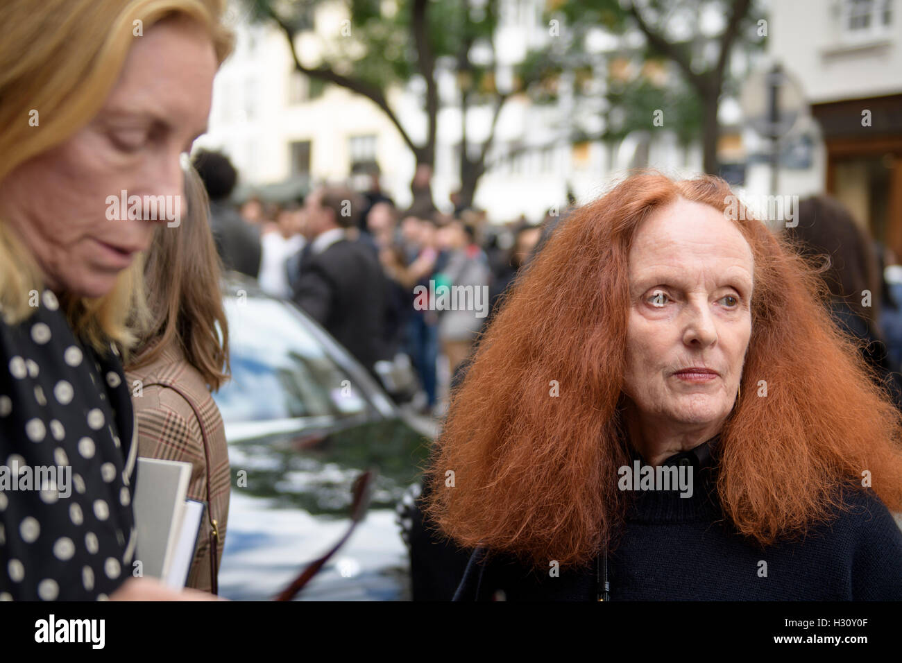 Paris, France. 2nd Oct, 2016. Former model and the creative director at large of American Vogue magazine Grace Coddington - Stock Image