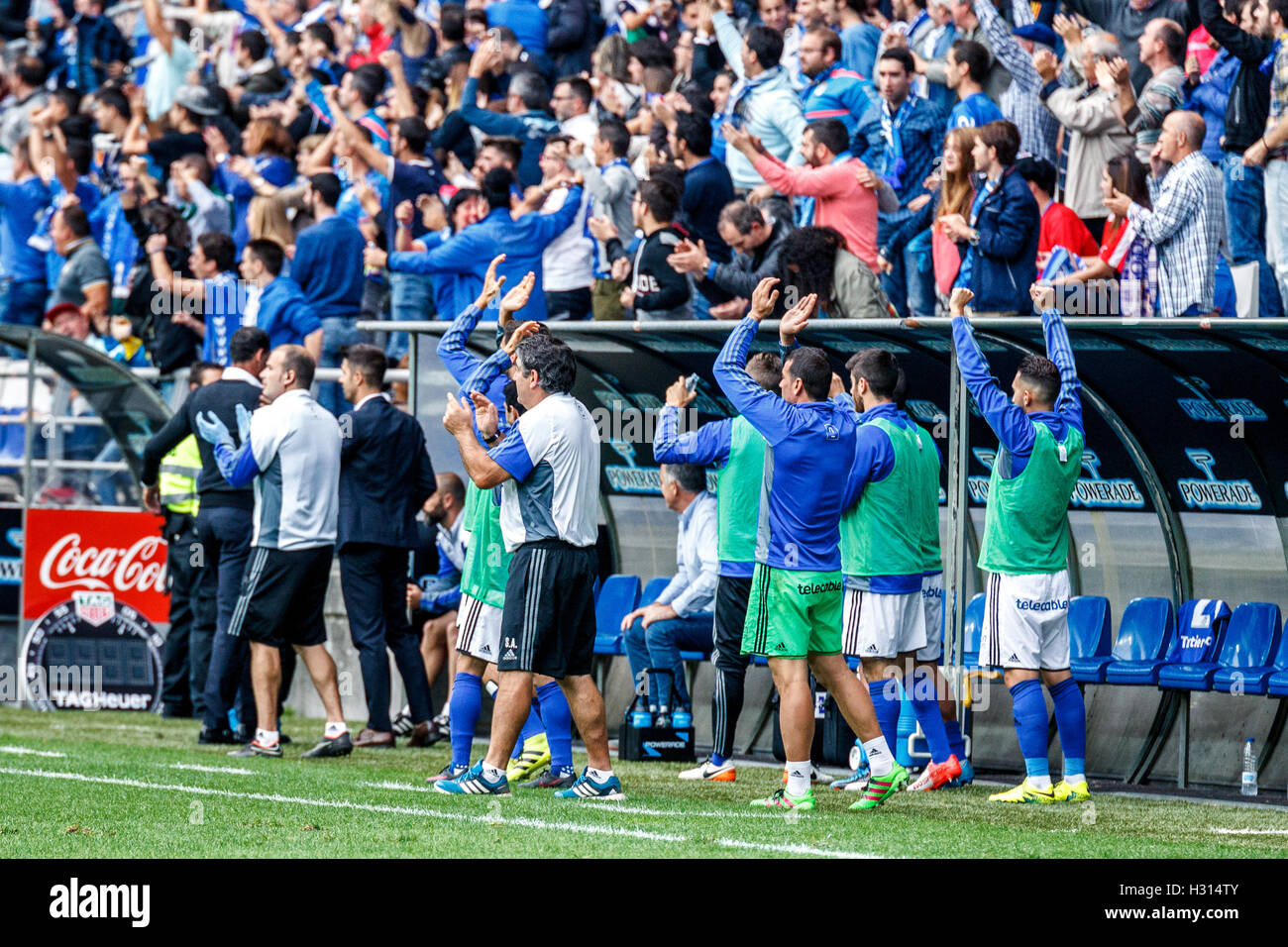 Carlos Tartiere stadium, Oviedo, Asturias, Spain. 2nd October, 2016. Liga 123 match between Real Oviedo v CD Numancia. - Stock Image